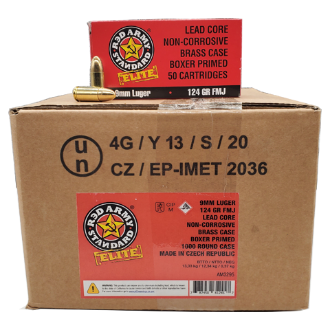9mm - Red Army Standard Elite 124 Grain FMJ 1000rd Case