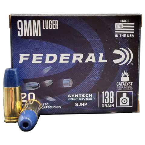 9mm - Federal Syntech Defense 138 Grain SJHP