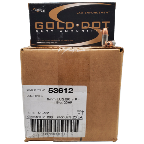 9mm - Speer Gold Dot 115 +P+ Grain JHP 1000rd. Case
