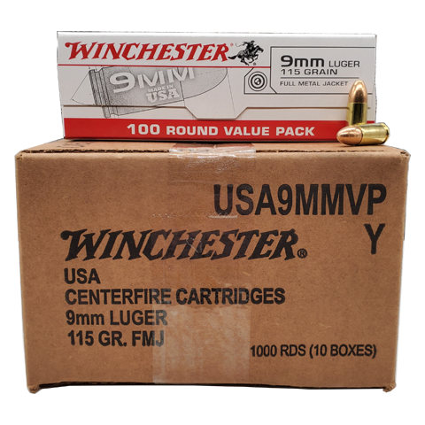9mm - Winchester 115 Grain FMJ 1000 Round Value Pack