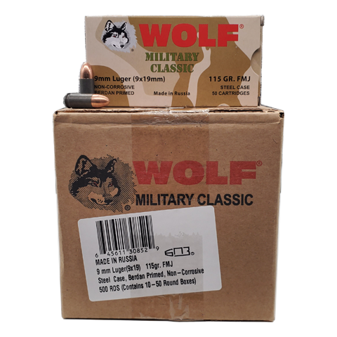9mm - Wolf Military Classic 115 GR. FMJ 500 rd. Steel Case