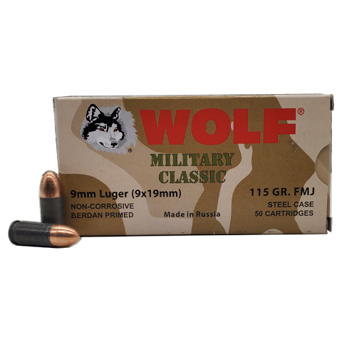 9mm - Wolf Military Classic 115 GR. FMJ