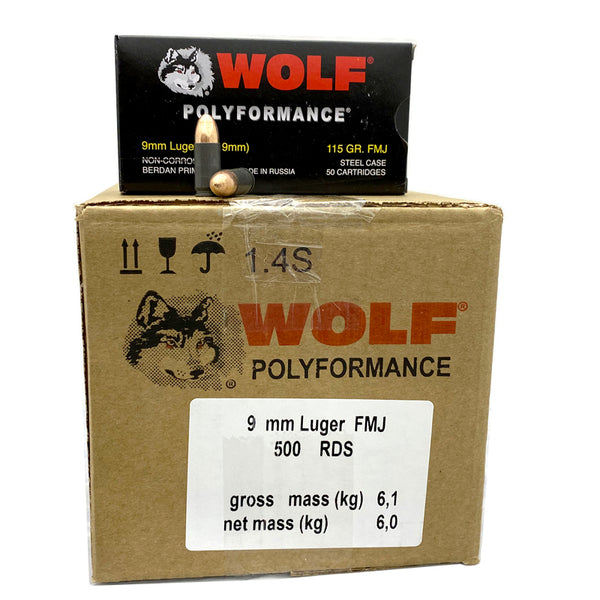 9mm - Wolf Polyformance 115 GR. FMJ 500 rd. Steel Case