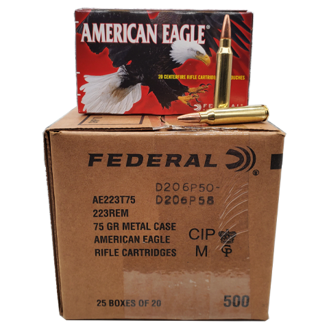 223 Rem - Federal American Eagle 75 Gr. TMJ 500 rd. Case