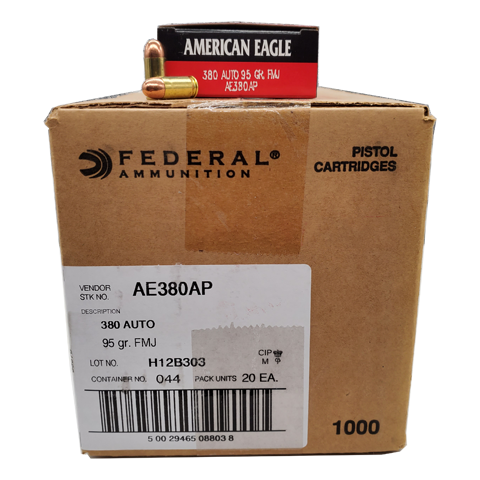 380 Auto - Federal American Eagle 95 Grain FMJ Case