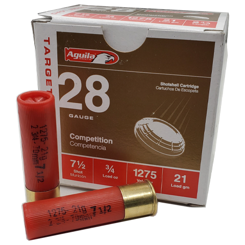 "28 Gauge - Aguila Competition 2-3/4"" Target Load #7.5 Shot"