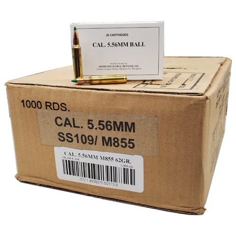5.56 Nato - Armscor M855 62 Grain Green Tip Case