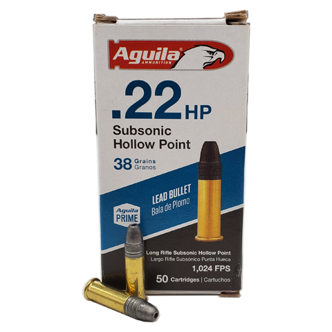 22 Long Rifle - Aguila 38 Grain Subsonic Hollow Point