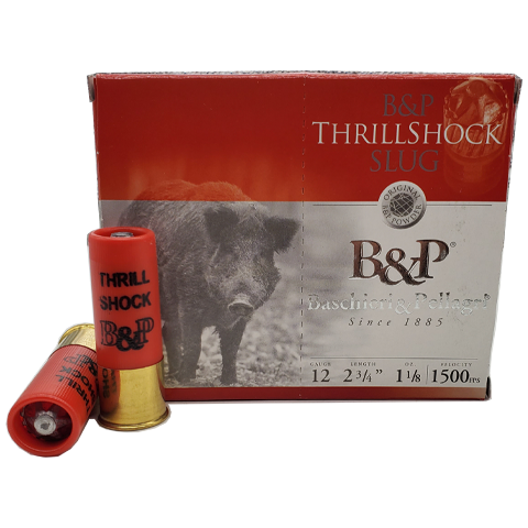 "12 Gauge - B&P 2-3/4"" ThrillShock 1-1/8oz Slug"
