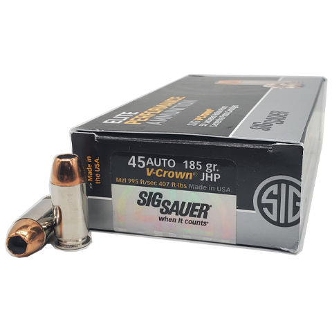 45 Auto - SIG Elite Performance 185 Grain V-Crown JHP