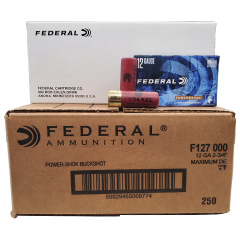 "12 Gauge - Federal Power-Shok 2-3/4"" 000 Buckshot Case"