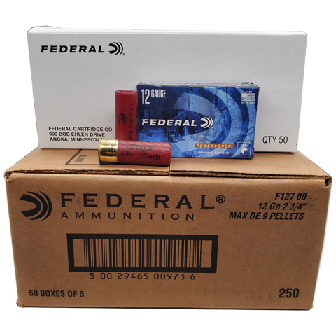 12 Gauge - Federal Power-Shok 00 Buckshot 250 Rd. Case