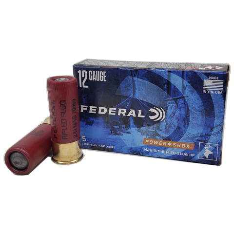 "12 Gauge - Federal Power-Shok 2-3/4"" Magnum HP Rifled Slug"