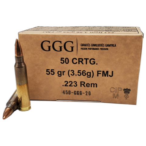 223 Rem - GGG 55 Grain Full Metal Jacket Brass