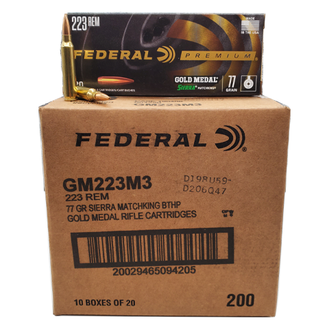 223 Rem - Federal Gold Medal 77 Grain Sierra Matchking HP Case
