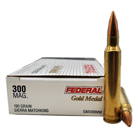 300 Win Mag - Federal Gold Medal Match 190 Gr. Sierra MatchKing