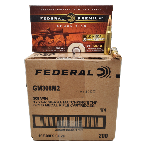 308 Win - Federal Gold Medal Match 175 Grain BTHP Case