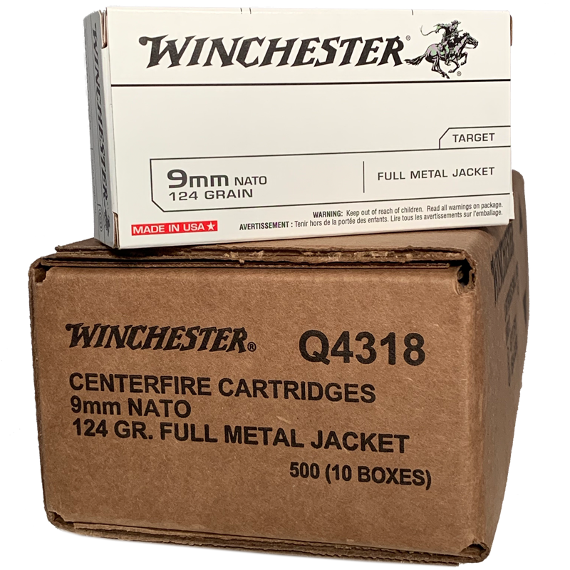 9mm - Winchester 124 Grain NATO 500 Round Case