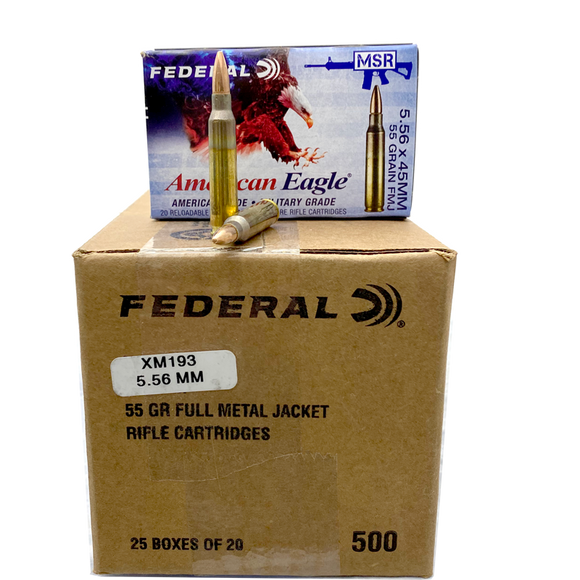 5.56 Nato - Federal American Eagle 55 gr. FMJ 500 rds.