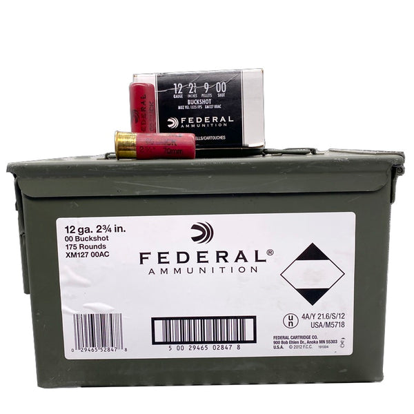 "12 Gauge - Federal Premium 2.75"" 00 Buckshot 175 Rd Can"