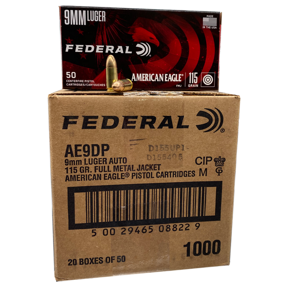 9mm - Federal American Eagle 115 Grain FMJ Case