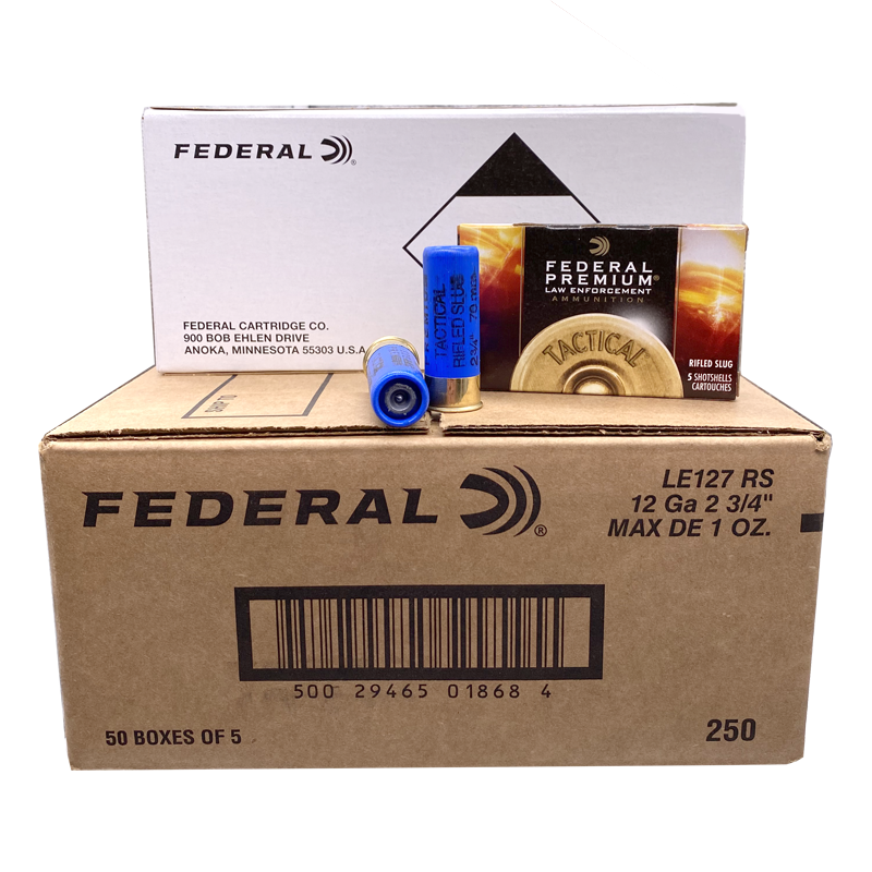 12 Gauge - Federal LE127RS Hydra-Shok Slug 250 Rd. Case