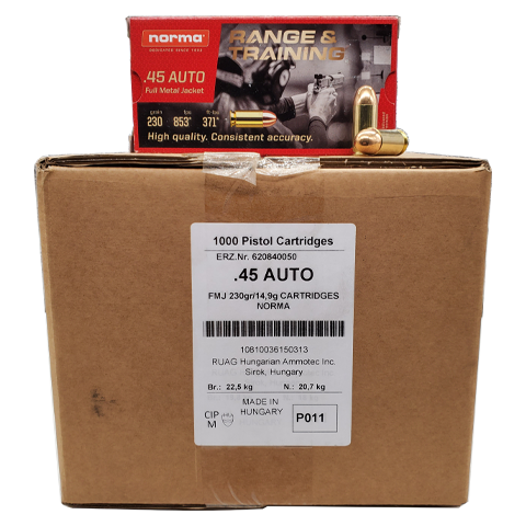 45 Auto - Norma 230 Gr. FMJ 1,000 Rd. Case