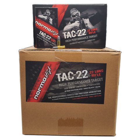 22 Long Rifle - Norma Tac-22 High performance Target 40 Grain LRN Case