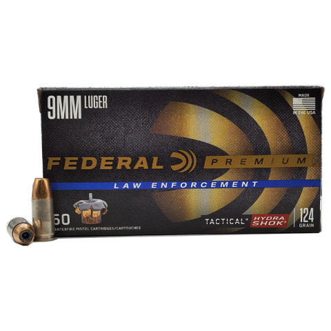 9mm - Federal LE Hydra-Shok 124 Grain Jacketed Hollow Point