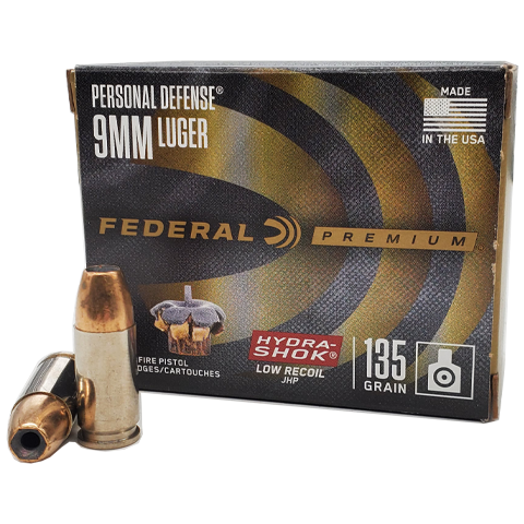 9mm - Federal Personal Defense 135 Grain Hydra-Shok Low Recoil