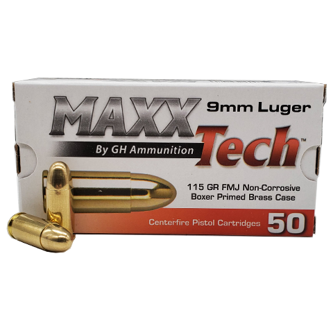 9mm - MaxxTech 115 Grain Full Metal Jacket