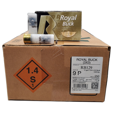 "12 gauge - RIO 2-3/4"" Royal Buck 9 Pellet 00 Case"
