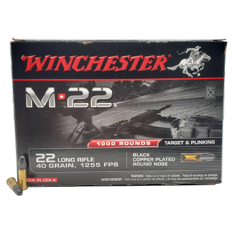 22 Long Rifle - Winchester M22 Black Copper Plated Round Nose