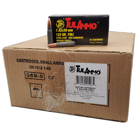 7.62x39 - TulAmmo 122 Grain Full Metal Jacket Steel Case Bulk