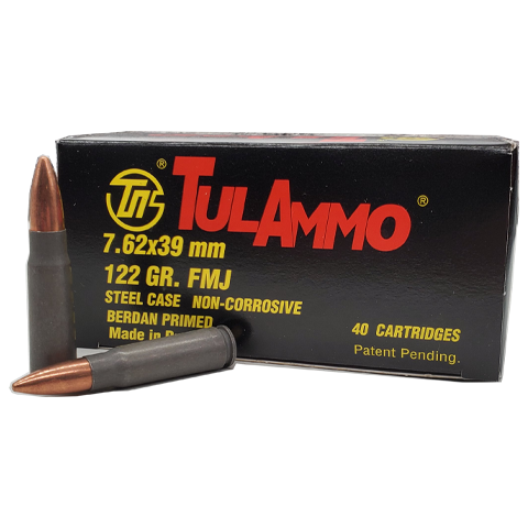 7.62x39 - TulAmmo 122 Grain Full Metal Jacket Steel Case 40 Rounds