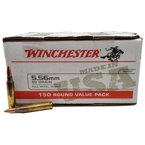 5.56 Nato - Winchester 55 Grain FMJ 150 Round Value Pack