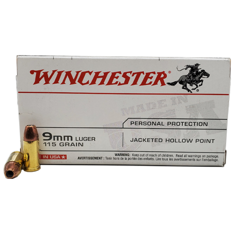 9mm - Winchester 115 Grain Jacketed Hollow Point