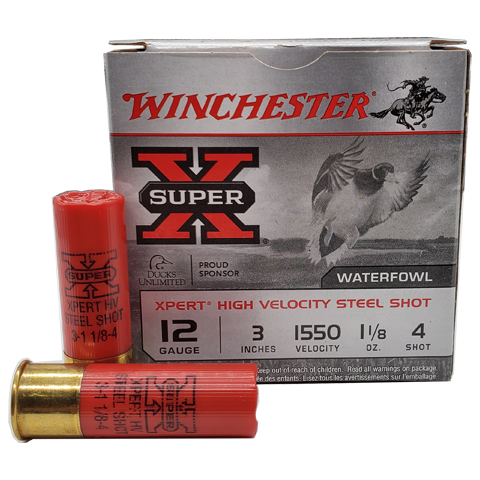 "12 Gauge - Winchester 3"" Super-X HV #4 Steel Shot"
