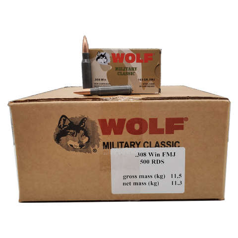 308 Win - Wolf Military Classic 145 Gr. FMJ 500 rd. case