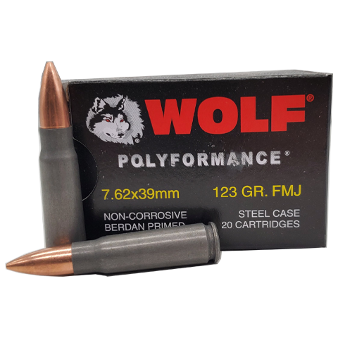 7.62x39 - Wolf Polyformance 123 Grain FMJ Steel Case