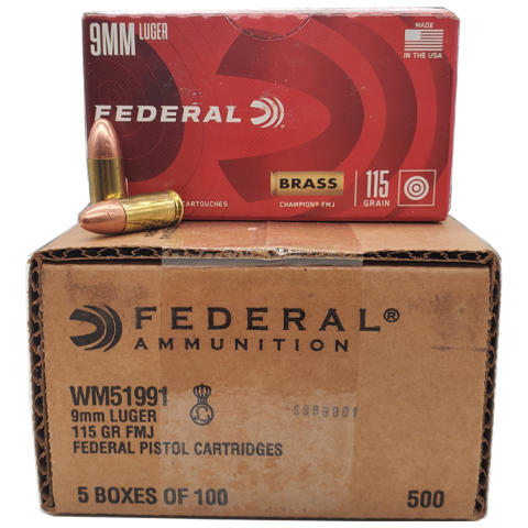9mm - Federal Champion 115 Grain FMJ VP Case