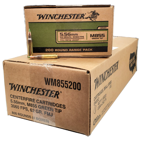 5.56 Nato - Winchester/Lake City 62 Gr. Green Tip 800 Rd. Case
