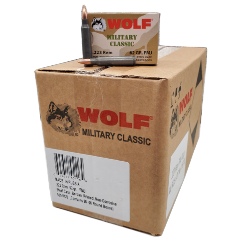 223 Rem - Wolf Military Classic 62 Gr. Steel Case FMJ 500 Rds.