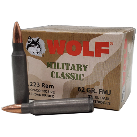 223 Rem - Wolf Military Classic 62 Gr. Steel Case FMJ