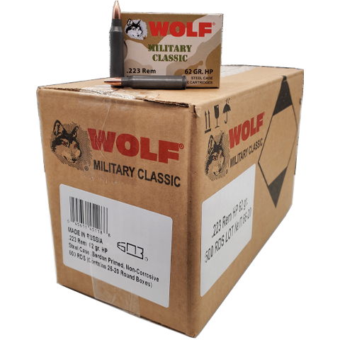 223 Rem - Wolf Military Classic 62 Gr. HP Steel Case 500 Rds.