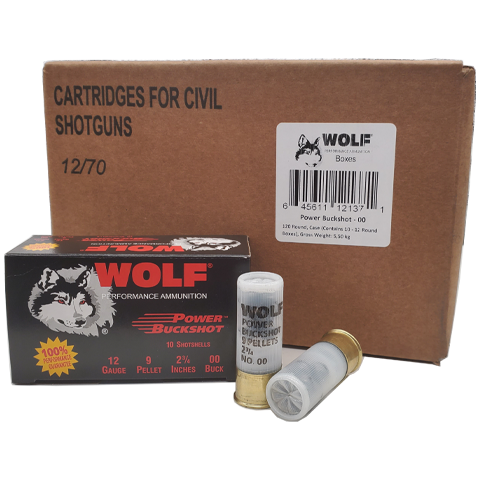 "12 Gauge - Wolf Performance 00 Buckshot 9 Pellet 2-3/4"" Case"