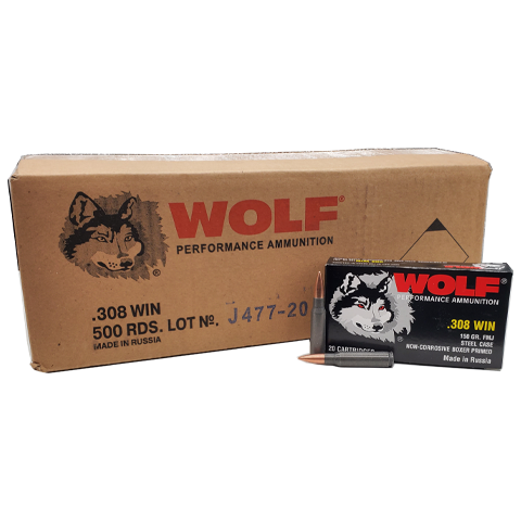 308 Win - Wolf Performance 150 Grain FMJ Case
