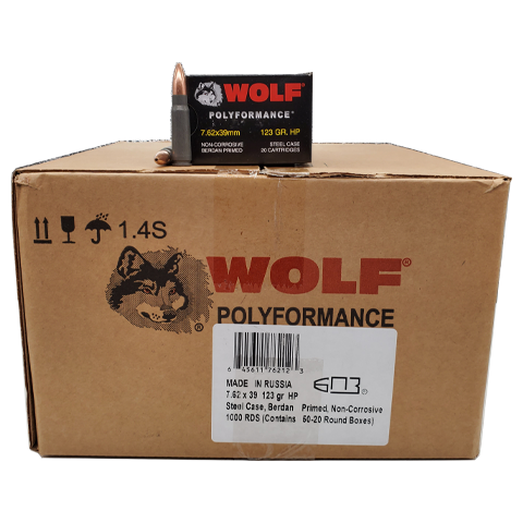 7.62x39 - Wolf Polyformance 123 Grain HP 1000 rd. Case