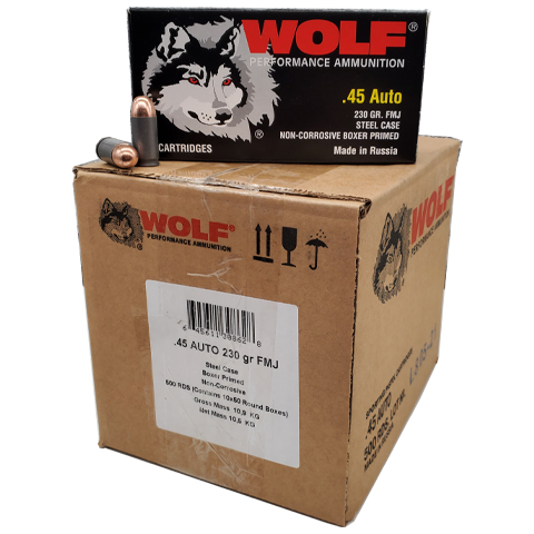 45 Auto - Wolf Performance 230 Grain FMJ 500 rds. Steel Case