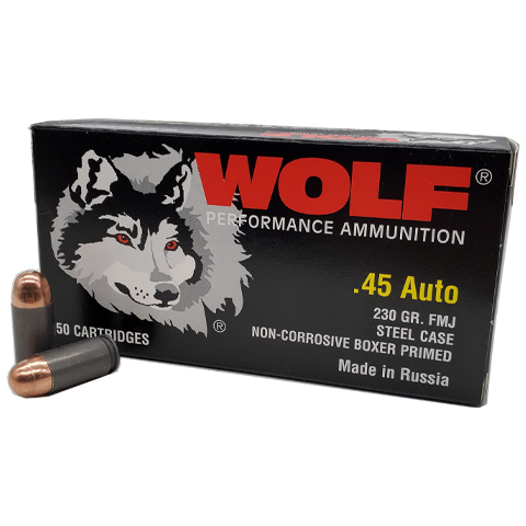 45 Auto - Wolf Performance 230 Gr. FMJ Steel Case